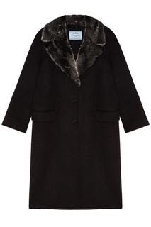 Шерстяное пальто с меховы воротником Prada