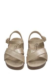Кожаные сандалии золотого цвета BAMBOU Bonpoint