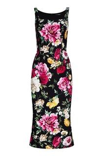 Черное платье с цветочным принтом Dolce & Gabbana