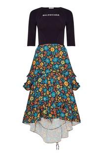 Комбинированное платье с цветным подолом Balenciaga