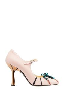 Розовые туфли с бусинами Marni