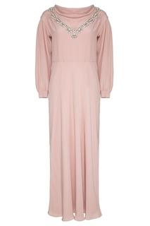 Шелковое платье с вышивкой кристаллами Miu Miu