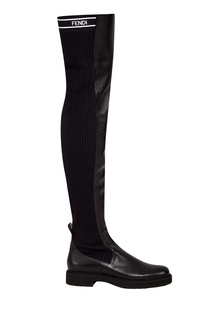 Черные кожаные сапоги Fendi