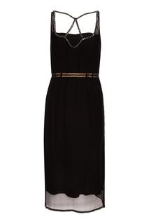 Черное шелковое платье с кристаллами No.21
