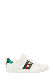 Декорированные кроссовки Ace из кожи Gucci