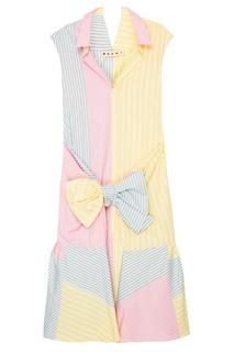 Платье-рубашка из комбинированного хлопка Marni