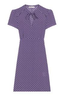 Короткое шелковое платье с принтом Maje