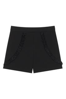 Короткие черные шорты с рюшами Maje