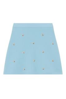 Голубая юбка с отделкой Maje