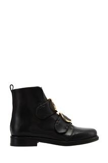 Кожаные ботинки с золотистыми пряжками Maje
