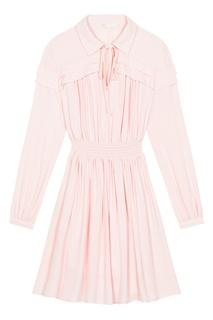 Розовое платье-рубашка Maje