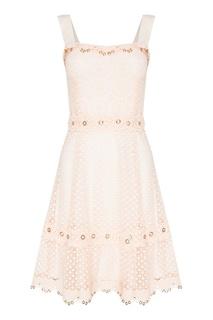 Розовое платье с кружевным верхом Maje