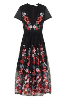Черное платье с цветочной вышивкой Maje