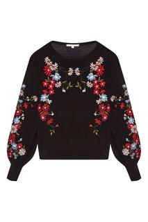 Черный пуловер с цветочной вышивкой Maje