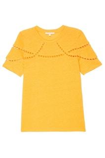Оранжевая футболка с ажурной отделкой Maje