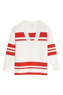 Белый пуловер с красными полосами Sandro