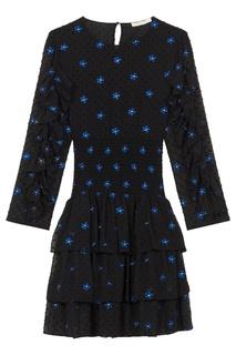 Черное платье с оборками и вышивкой Maje