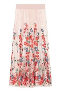 Розовая юбка-миди с вышивкой Maje