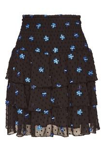 Черная юбка с вышивкой и оборками Maje