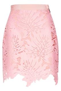 Розовая юбка с ажурными листьями Msgm