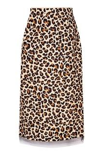 Хлопковая юбка с леопардовым принтом No.21