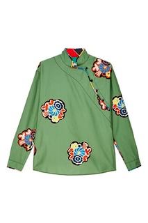 Зеленая блузка с яркими цветами Philosophy di Lorenzo Serafini