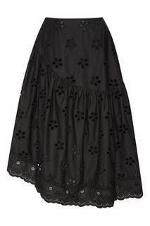 Черная юбка из вышитого хлопка Simone Rocha
