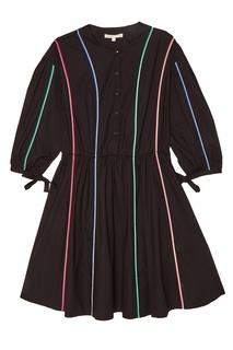 Черное платье с цветными полосками Maje