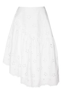 Белая юбка из вышитого хлопка Simone Rocha