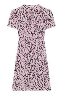 Шелковое платье с контрастным принтом Maje