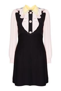 Комбинированное платье с оборками Miu Miu