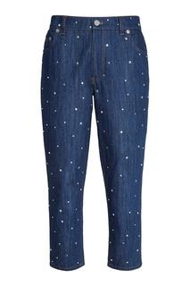 Синие джинсы с кристаллами Miu Miu
