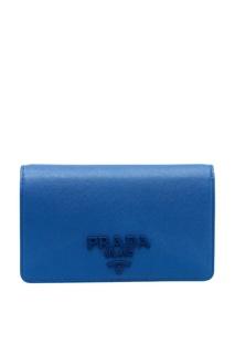 Сумка-кошелек из синей сафьяновой кожи Prada