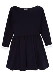 Синее платье с контрастными манжетами Miu Miu