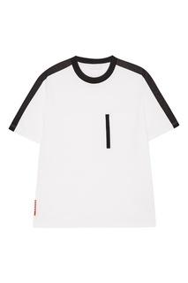 Белая футболка с контрастной полоской Prada