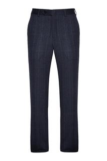 Синие шерстяные брюки в клетку Canali
