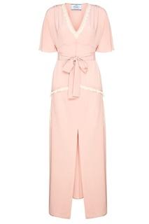 Розовое платье из шелка с кружевом Prada
