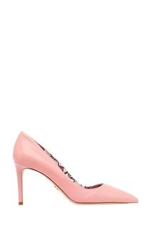 Кожаные туфли розового цвета Prada