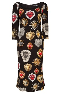 Платье-миди с контрастным принтом Dolce & Gabbana