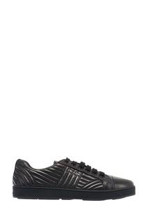 Черные кожаные кроссовки Prada