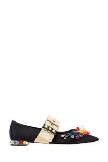 Туфли с кристаллами и контрастным ремешком Miu Miu