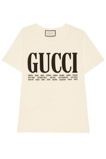 Хлопковая футболка с контрастным лого Gucci