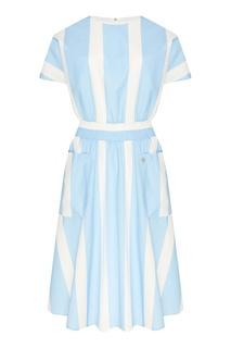 Хлопковое платье в бело-голубую полоску Akhmadullina Dreams