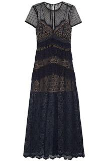 Синее кружевное платье Self Portrait