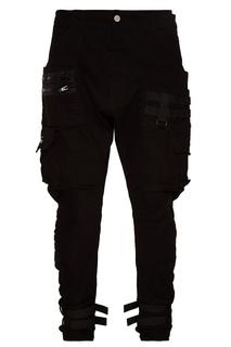 Черные хлопковые брюки с ремнями C2 H4