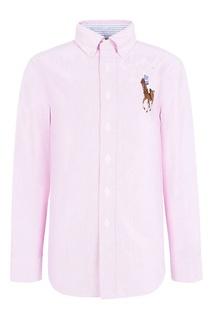 Розовая рубашка с цветной вышивкой Ralph Lauren Children
