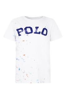 Хлопковая футболка с принтом и логотипом Ralph Lauren Children