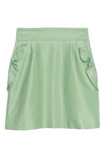 Зеленая юбка с оборками Sandro