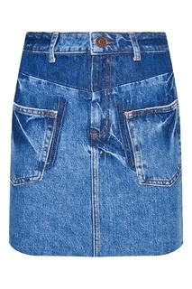 Короткая джинсовая юбка с карманами Sandro