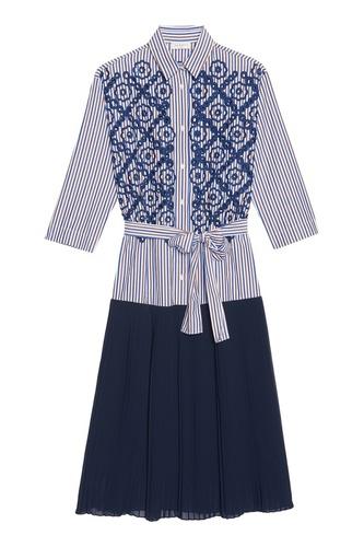 Платье-рубашка с контрастным подолом